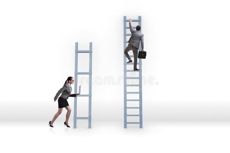 不齐平的事业机会的概念在人妇女之间的 库存图片
