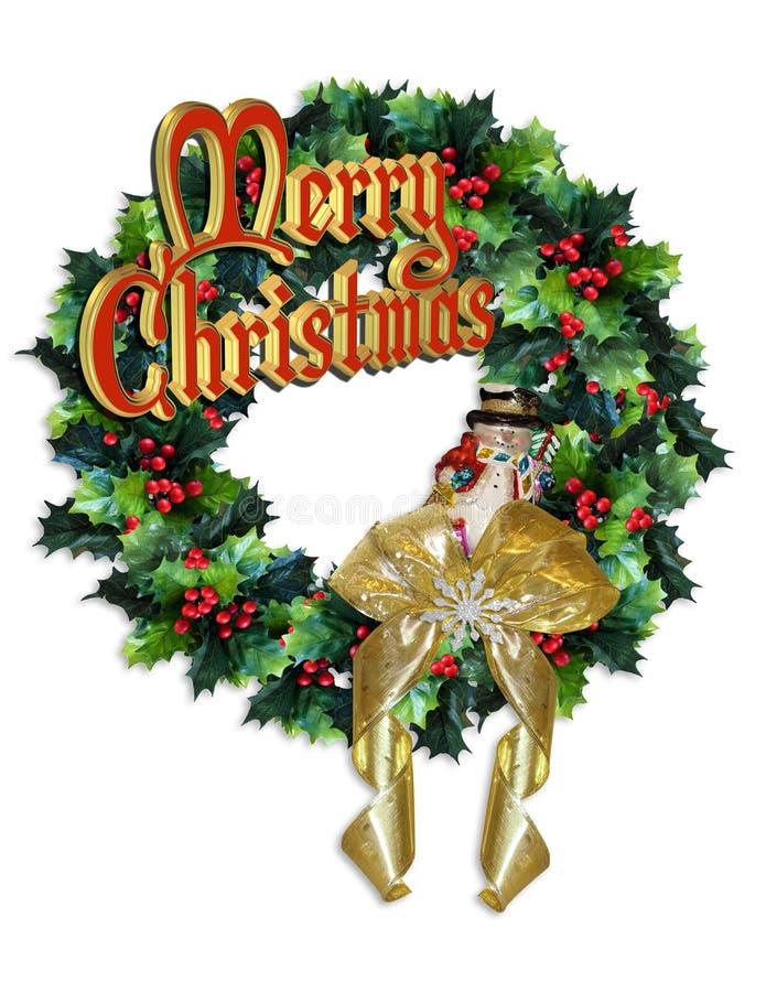 与'圣诞快乐的文本的圣诞节花圈 库存照片