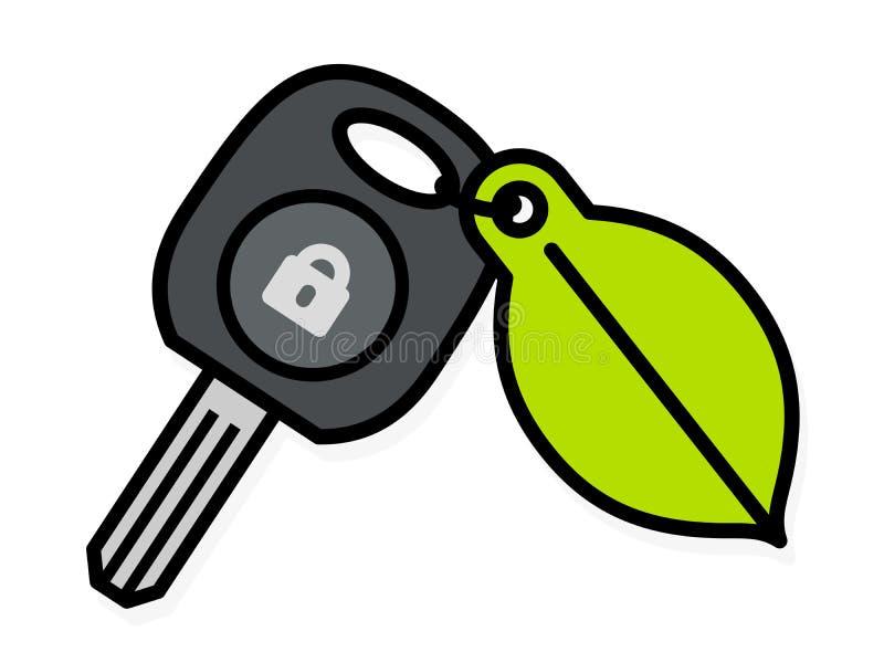 与一个五颜六色的绿色叶子标记的汽车钥匙 向量例证