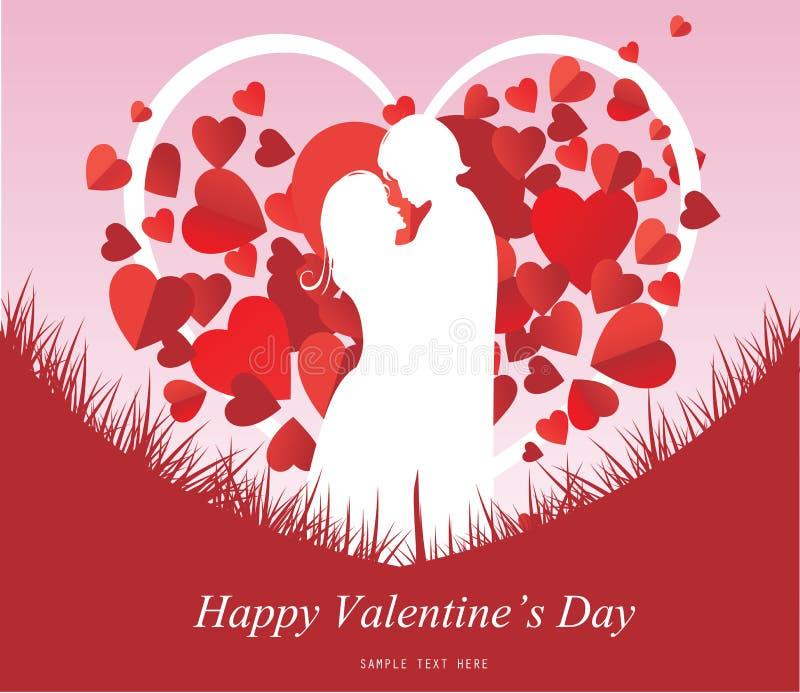 与一个亲吻的夫妇剪影的情人节背景,心形的树 向量例证