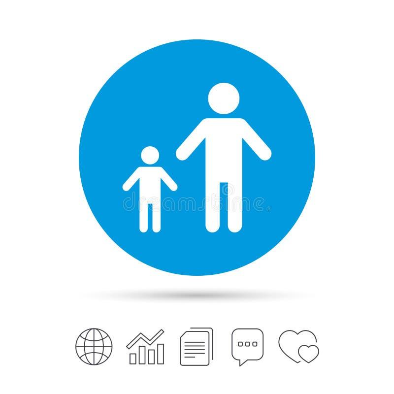 与一个儿童标志象的单亲家庭 库存例证