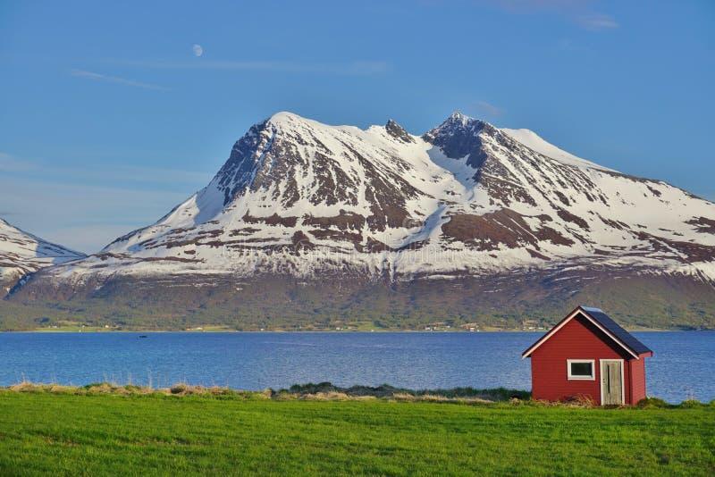 与一个典型的红色房子的挪威风景 免版税库存照片