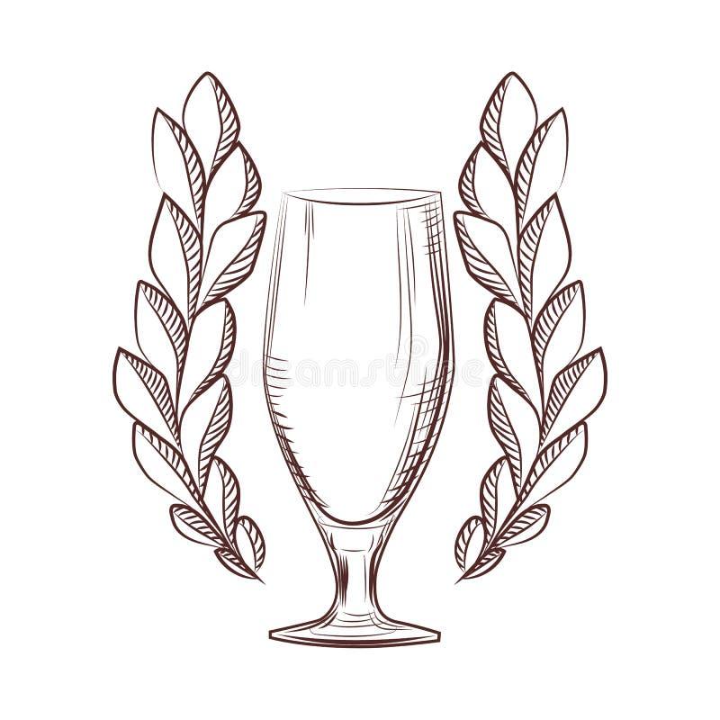 与一个啤酒杯的被隔绝的月桂树花圈象在白色背景 库存例证