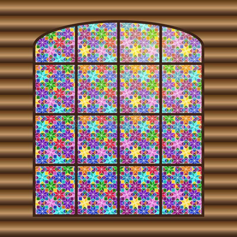 与一个多彩多姿的彩色玻璃窗的古色古香的大窗口 皇族释放例证