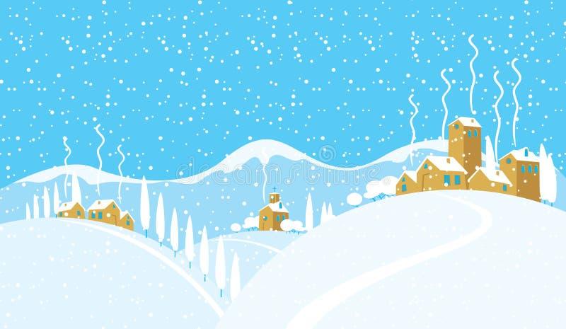 与一个多雪的村庄的冬天风景小山的 向量例证