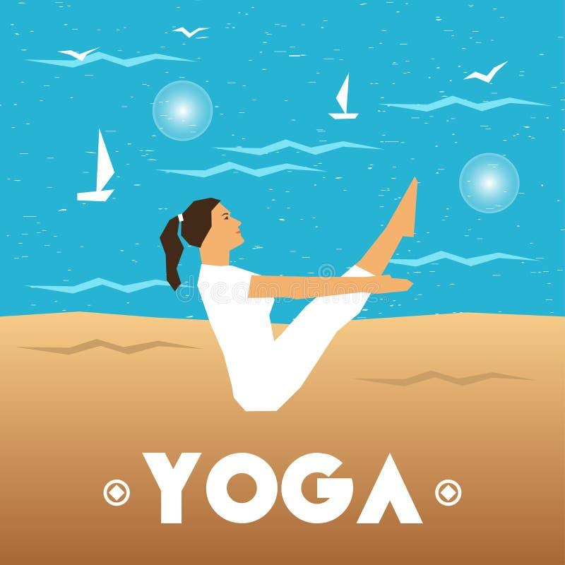 与一个女孩的瑜伽海报在海背景的瑜伽姿势的 皇族释放例证