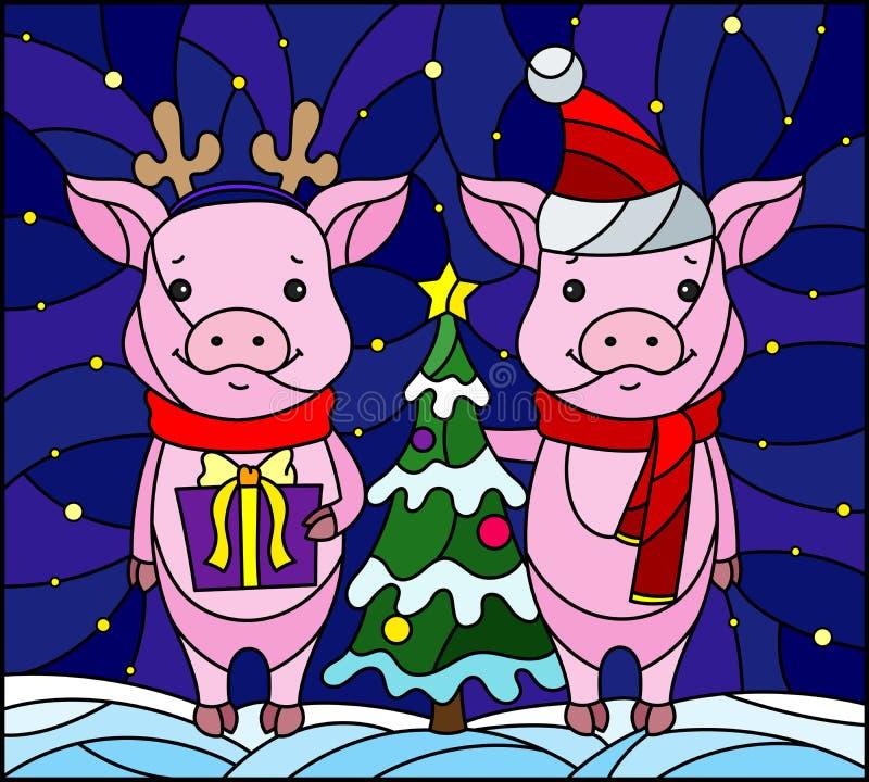 与一个对的彩色玻璃例证动画片猪和一棵圣诞树在雪和满天星斗的天空背景  皇族释放例证