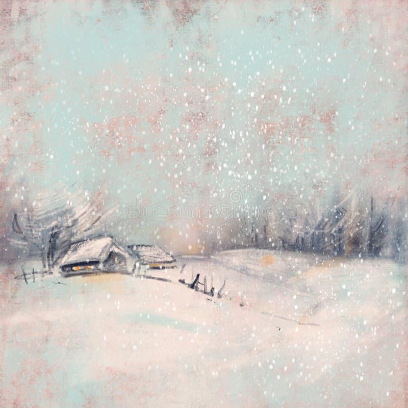 与一个小村庄的冬天风景日落的 向量例证
