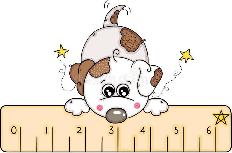 与一个小的统治者的逗人喜爱的白色狗 向量例证