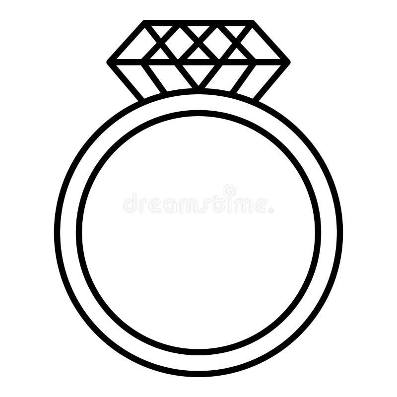 与一个巨大的金刚石象的圆环,概述样式 库存例证