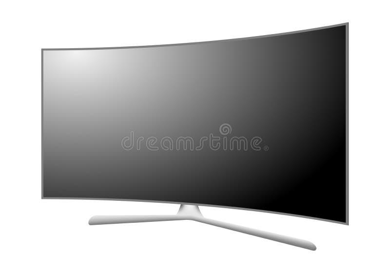 与一个弯曲的屏幕的现代3D等离子电视 有一个立场的多媒体设备与与白色反射的黑显示在白色b 向量例证