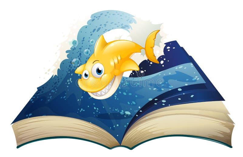 与一个微笑的鲨鱼的一本开放故事书 库存例证