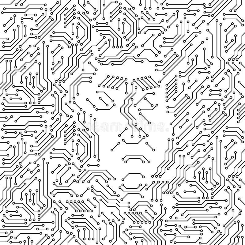 与一个恼怒的人面的电路板黑白电脑技术,邪恶的人工智能概念 皇族释放例证