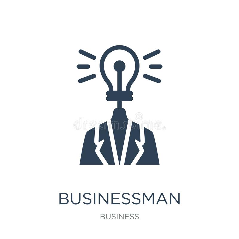 与一个想法象的商人在时髦设计样式 与在白色背景隔绝的想法象的商人 商人与 库存例证