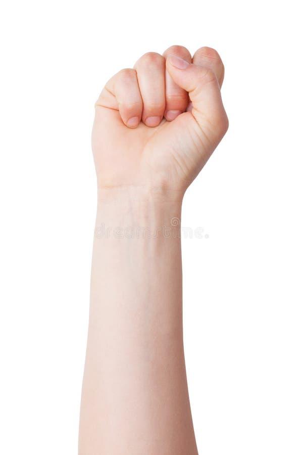 与一个握紧拳头的人力现有量 库存照片
