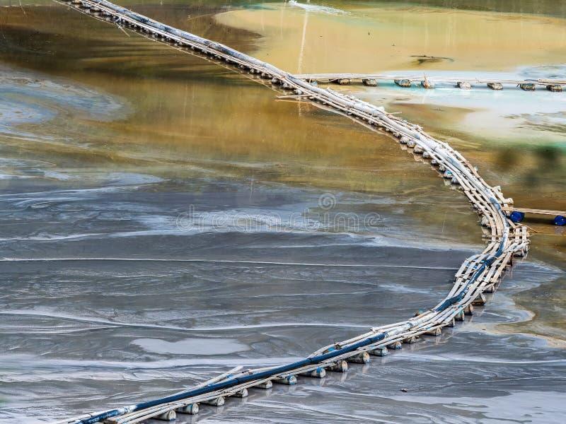 与一个木桥的五颜六色的风景在含毒物污染了湖由于铜采矿 免版税库存照片