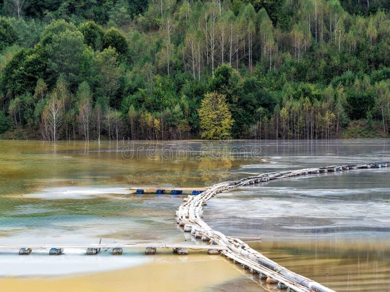 与一个木桥的五颜六色的风景在含毒物污染了湖由于铜采矿 免版税库存图片