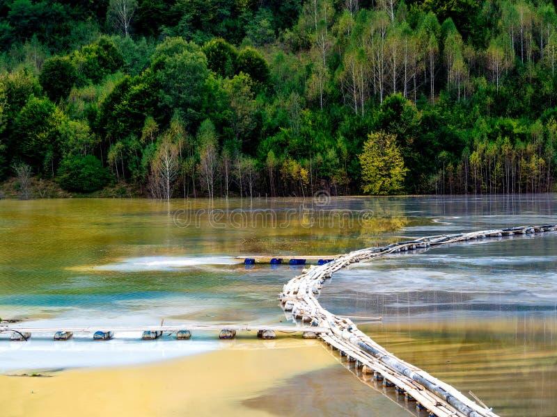 与一个木桥的五颜六色的风景在含毒物污染了湖由于铜采矿 库存图片