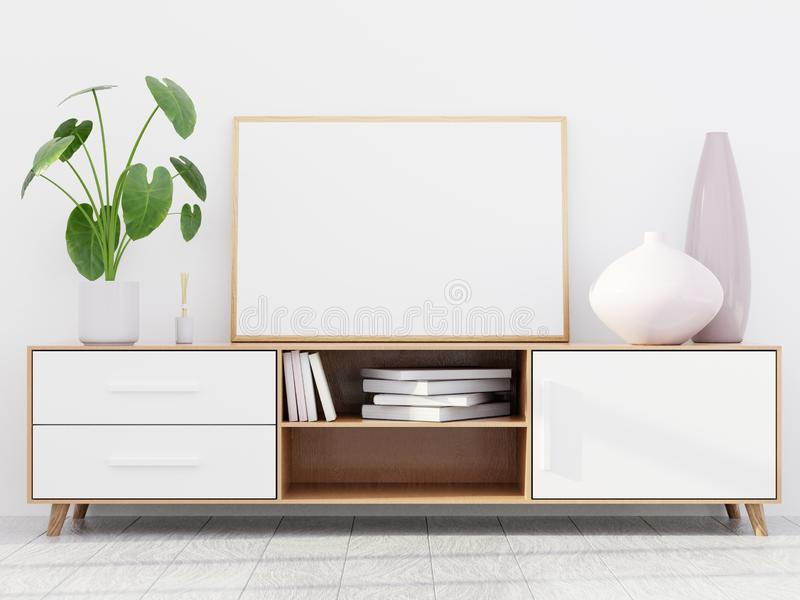 与一个木梳妆台和一个水平的海报大模型,3D的现代客厅内部回报 库存图片