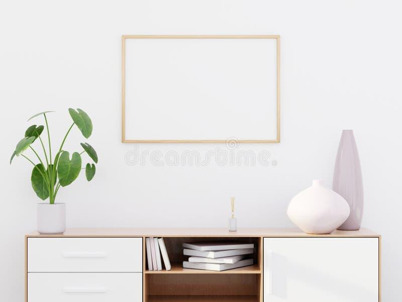 与一个木梳妆台和一个水平的海报大模型,3D的现代客厅内部回报 免版税库存图片