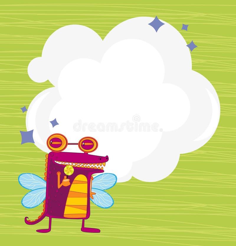 与一个机器人的一块空的云彩模板有翼的 皇族释放例证