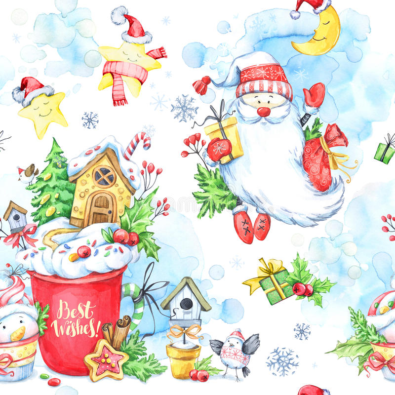 与一个杯子的水彩无缝的样式奶油、姜饼、童话雪人、圣诞老人和礼物 库存例证