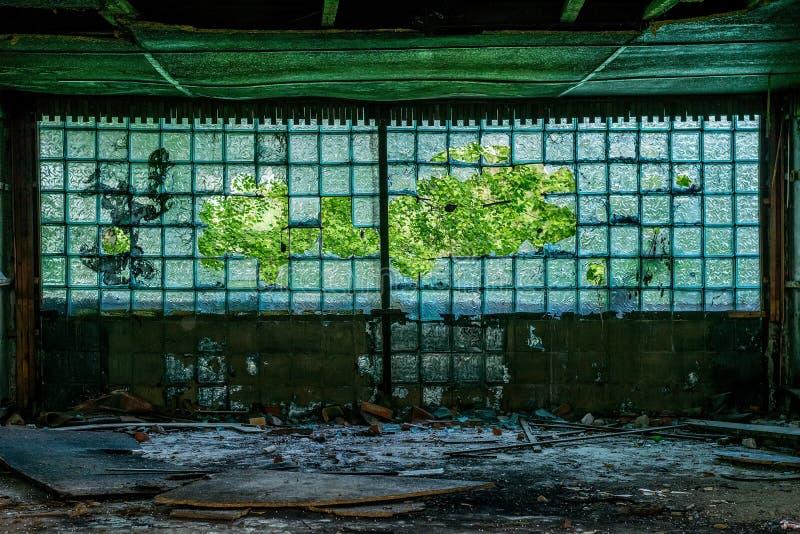 与一个样式的大波纹状,被打碎的窗口在一个被放弃的大厦的走廊 免版税库存照片