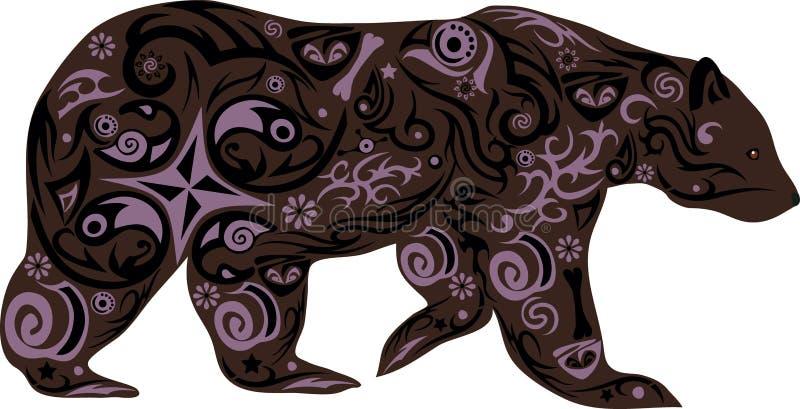 与一个样式从花,与图画的一个动物的熊从线,熊前进,笨拙的掠食性动物的例证 皇族释放例证