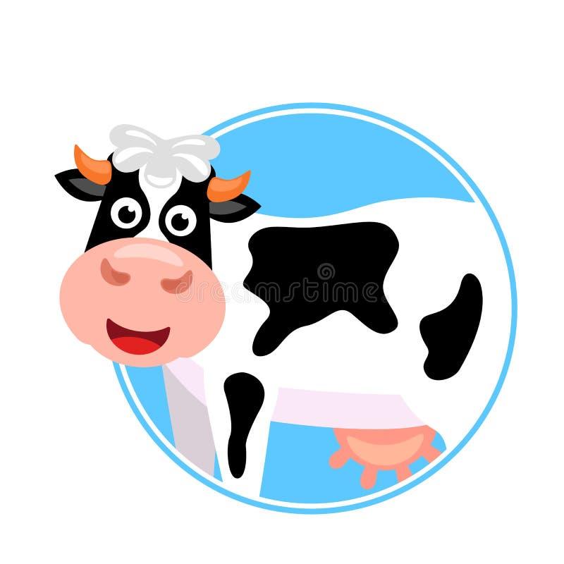 与一个桃红色乳房的逗人喜爱的母牛在一个圆的框架 乳制品的标签模板 r 库存例证