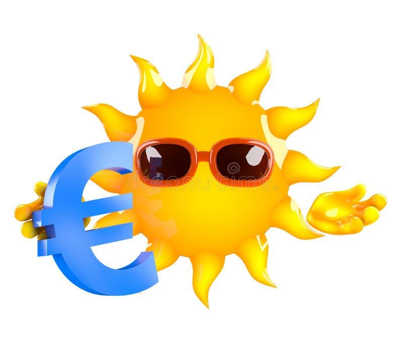 与一个欧洲货币符号的3d太阳 库存例证