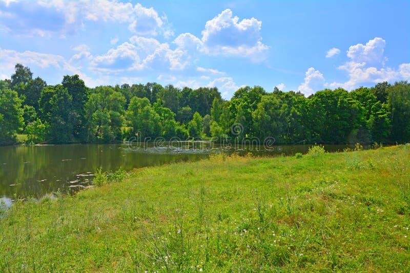 与一个池塘的农村风景陀思妥耶夫斯基Darovoye庄园的  免版税库存照片
