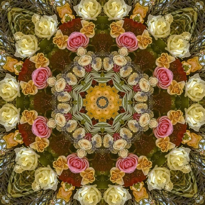 与一个温暖的颜色塑象的正方形圆婚礼花设计 免版税库存图片