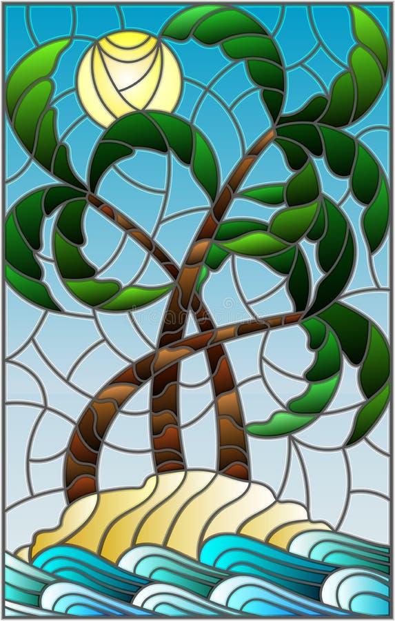 与一个热带海风景的彩色玻璃例证,在沙滩的椰子树在晴朗的天空背景  皇族释放例证