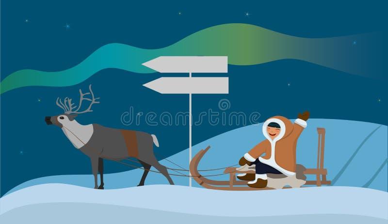 与一个爱斯基摩人的横幅驯鹿雪橇的 与北极光的风景 r 向量例证