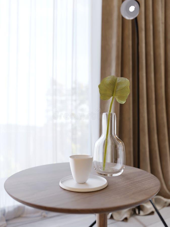 与一个玻璃花瓶的装饰木圆桌和绿色植物和一杯咖啡 向量例证