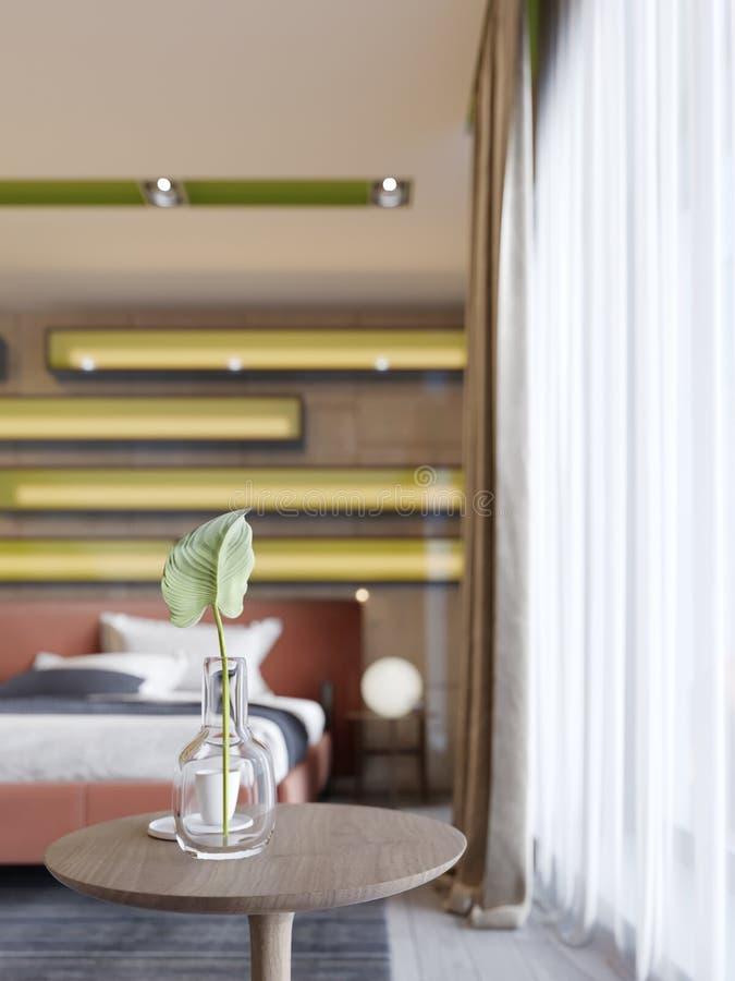 与一个玻璃花瓶的装饰木圆桌和绿色植物和一杯咖啡 库存例证