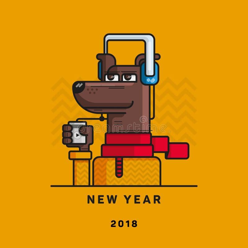 与一个球员的一条狗脚和耳机的,词`新年2018年`,狗的年 库存例证