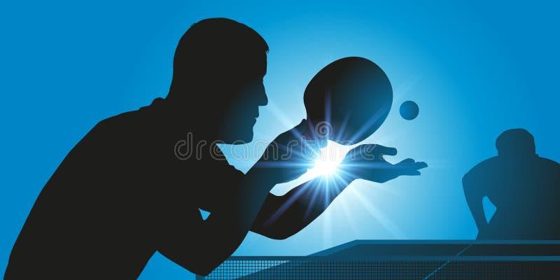 与一个球员的服务的台球比赛在冠军赛期间的 库存例证