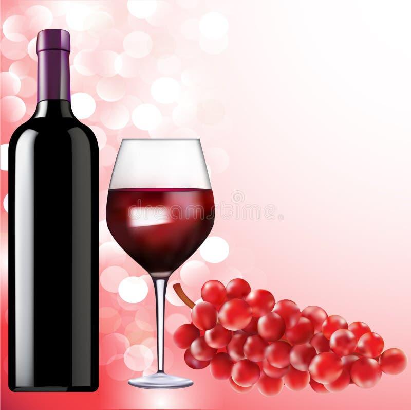 与一个瓶的静物画酒杯和葡萄 向量例证