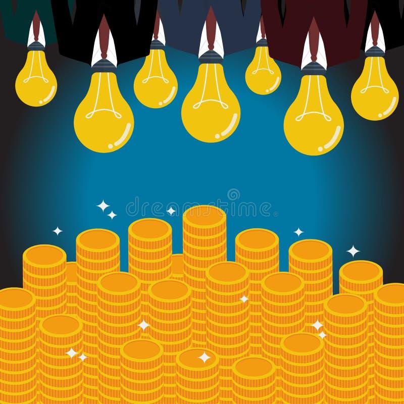 与一个电灯泡头的商人发光对金钱 库存例证