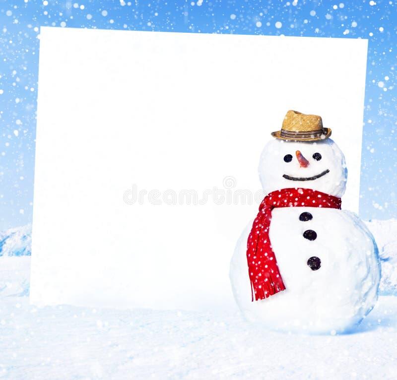 与一个白板的雪人 库存照片