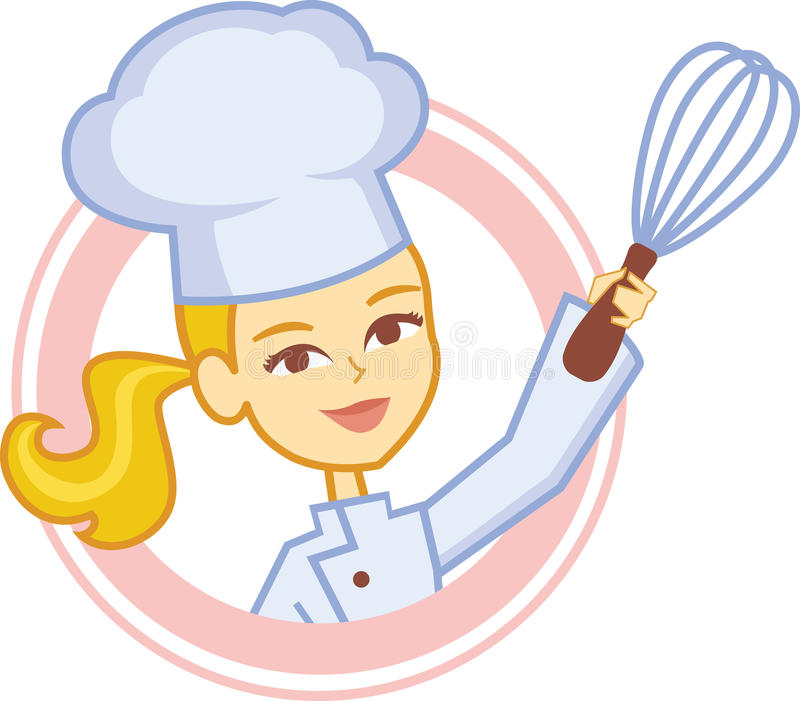 与女孩厨师字符设计的面包店商标 向量例证