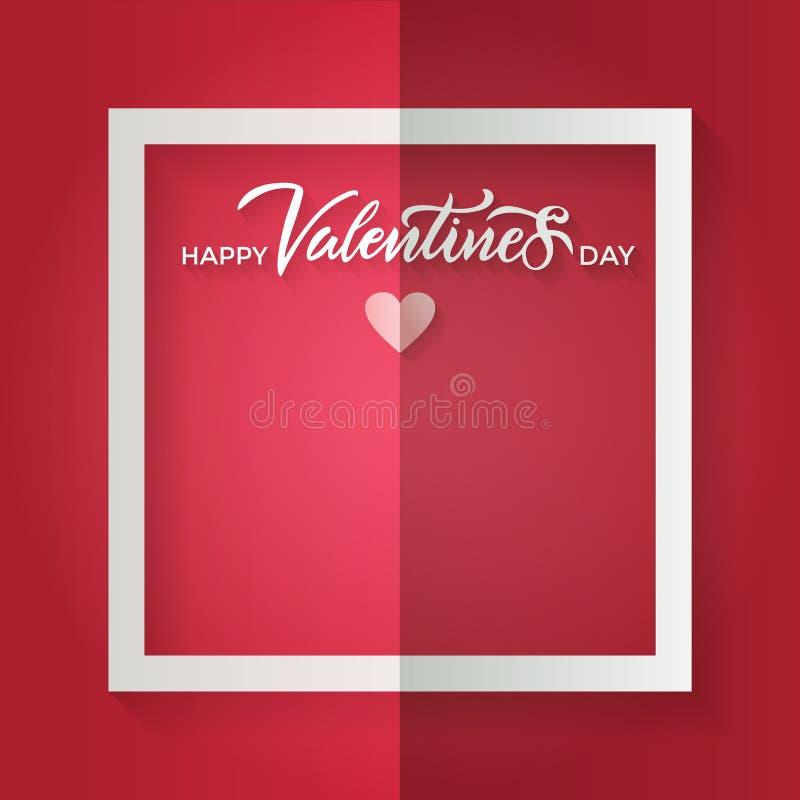 与一个白色框架的被弄皱的红色板料和与在题字愉快的情人节上写字的小纸心脏 传染媒介纸工艺 皇族释放例证