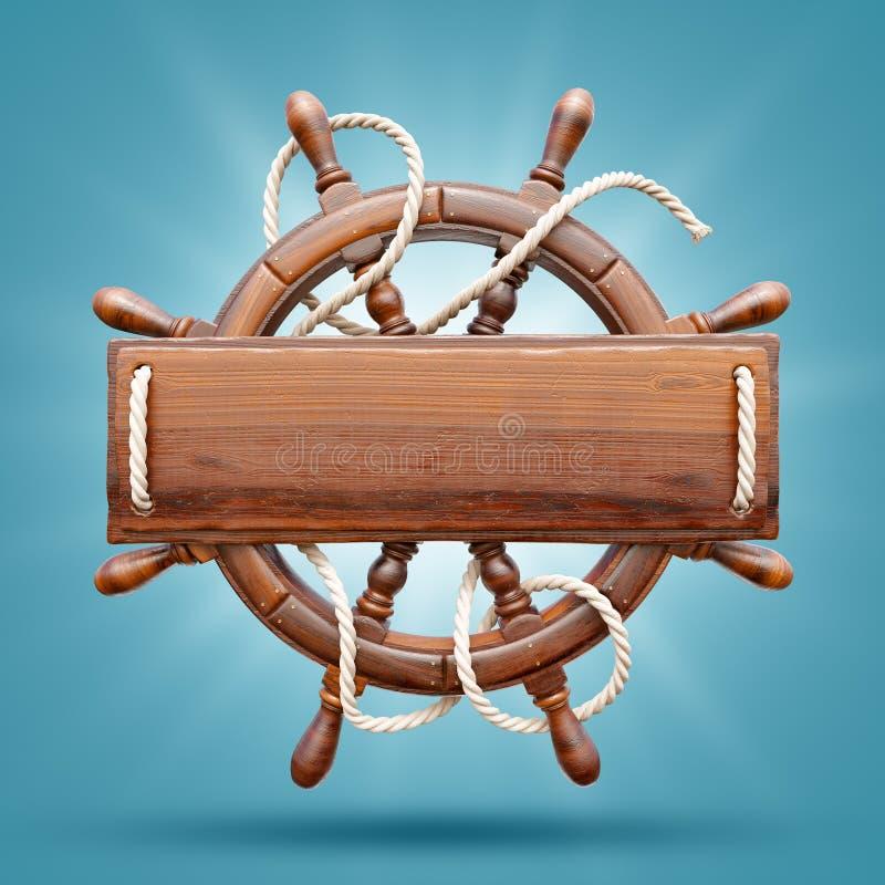 与一个空白的木板条的木舵 皇族释放例证