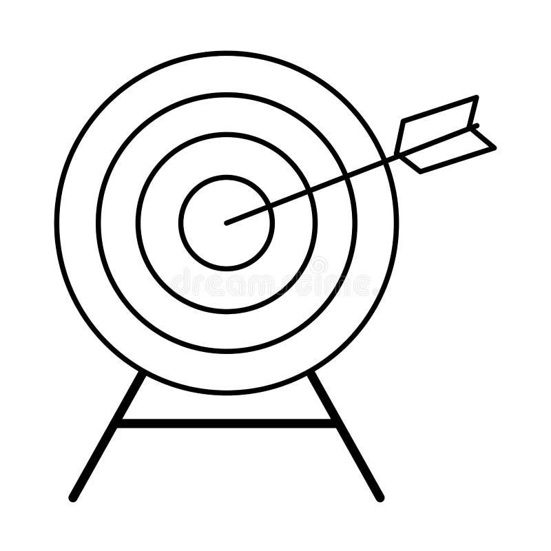 与一个箭头的目标在中间黑白 库存例证