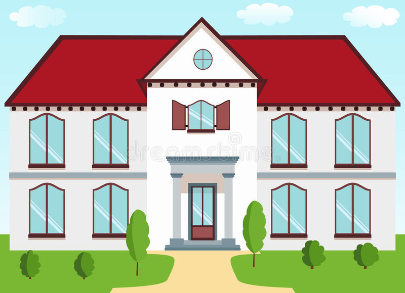 与一个红色屋顶的经典村庄,门廊专栏,快门,草坪o 皇族释放例证