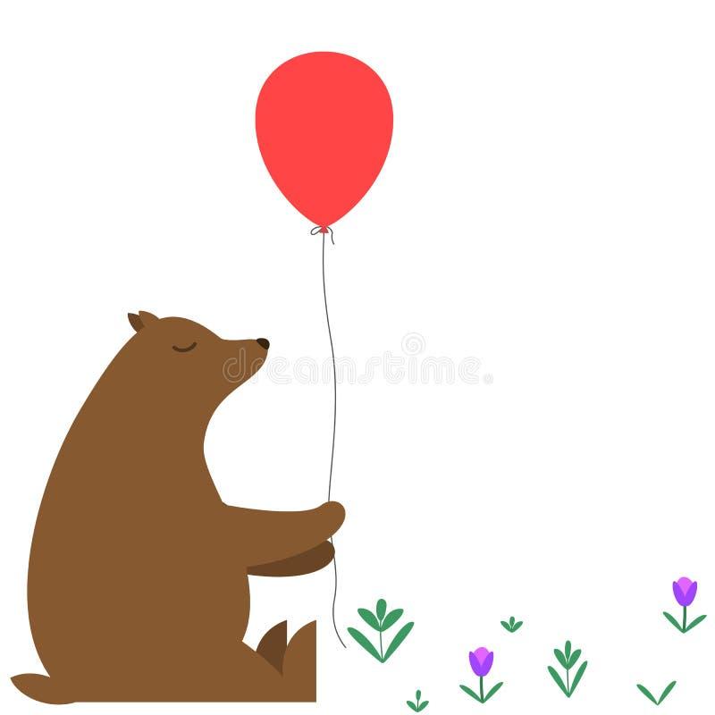 与一个红色气球的动画片熊 皇族释放例证