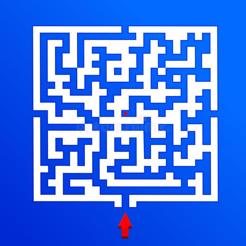 与一个红色箭头的白色迷宫 皇族释放例证