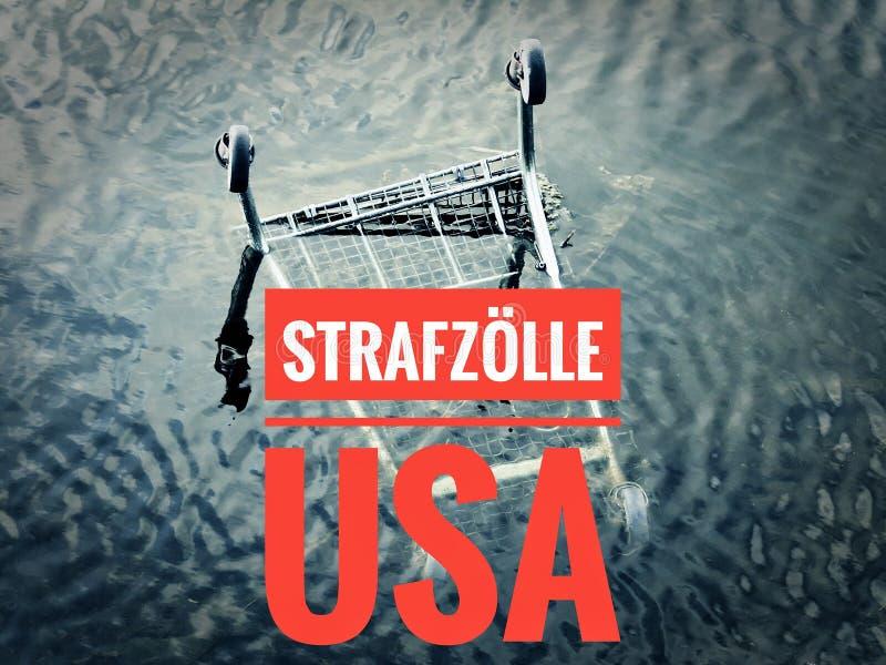 与一个统计的图表对与用德语在英国重税美国的Strafzölle美国的当前金属价格 免版税库存图片