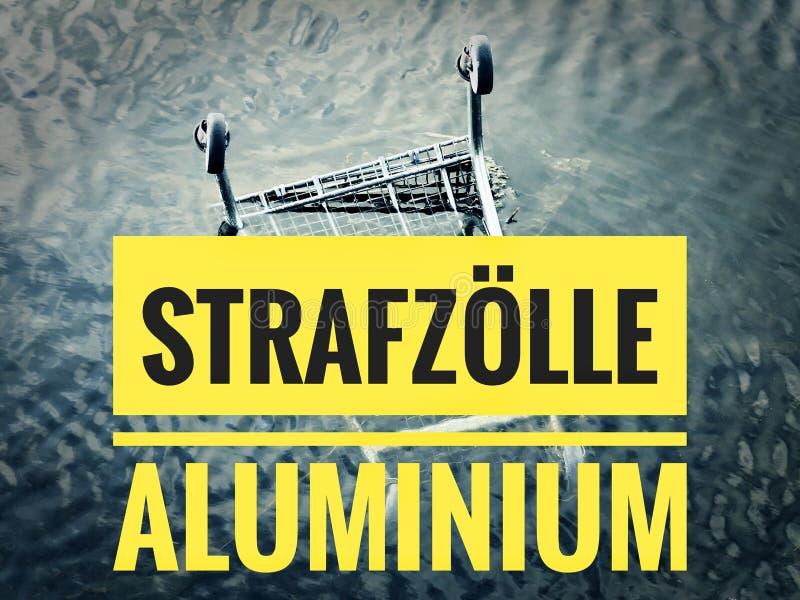 与一个统计的图表对与用德语Strafzölle铝的当前金属价格在英国重税铝 库存照片
